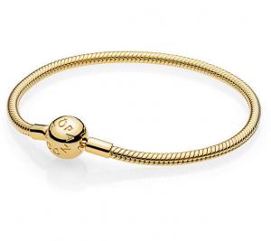 Bracciale Moments – Maglia snake chiusura a sfera gold