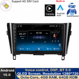 ANDROID 10 autoradio navigatore per Nissan Qashqai, Nissan X-Trail Nissan Rogue 2014-2018 GPS USB WI-FI Car Play Android Auto Bluetooth 4G LTE