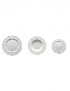 Brandani Servizio 18 piatti Burlesque bianco tramato