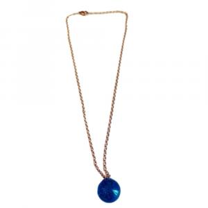 Collana grande con sfera colore blu in resina epossidica