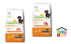 NATURAL TRAINER | LINEA SECCO CANE | Sensitive No Gluten | Mini / Small ADULT  / Anatra / Agnello ) / 2kg