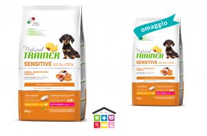 Natural trainer sensitive puppy 2kg salmone mini + confezione 800g in omaggio