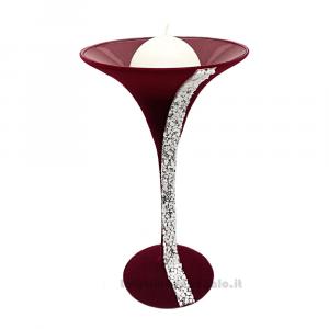 Calice portacandela Messico in vetro rivestito di velluto Bordeaux 30 cm - Oggestica da arredo