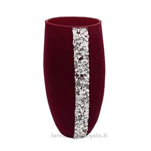 Vaso Messico in vetro rivestito di velluto Bordeaux 20 cm - Oggestica da arredo