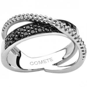 Anello a fascia Comete Intrecci in oro 18kt e diamanti bianchi e neri ANB1397