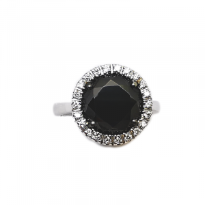 Anello con Diamanti bianchi e Diamante nero