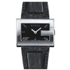 OROLOGIO GUCCI  RECT BLACK LEATHER
