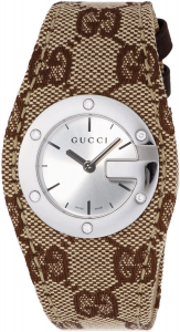 OROLOGIO GUCCI BANDEAU BROWN CANVAS