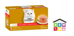 GOURMET Gold Cuore Morbido Gatto con Tonno, Salmone 4 x 85 g