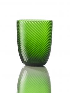 Bicchiere Idra Rigato Ritorto Verde Pino