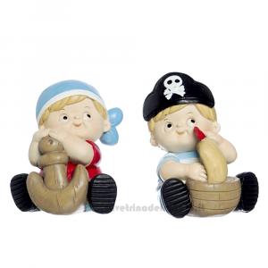 Salvadanaio Bambino Pirata in resina 13 cm - Bomboniera bimbo