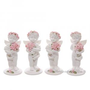 Cherubino con mazzo di Rose Rosa in resina 2.5x2.5x6.5 cm - Idea Regalo