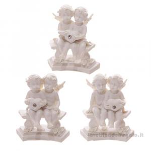 Cherubini su Panchina con Cuore e Rose in resina 5.5x4x7 cm - Idea Regalo