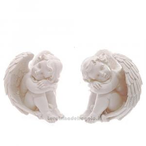 Cherubino Bianco che riposa in resina 18x14x17 cm - Idea Regalo