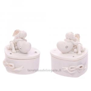 Scatolina Portagioie Cuore con Cherubino Bianco in resina 6x5.5x6.5 cm - Idea Regalo
