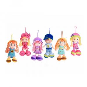 Bambola piccola in stoffa imbottita con cappello da appendere