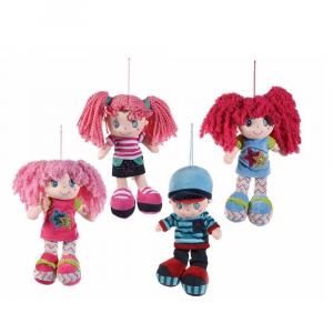 Bambola piccola 22 cm in stoffa imbottita da appendere