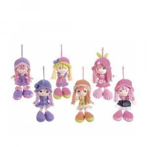 Bambola piccola in stoffa imbottita cm 21 con cappello da appendere