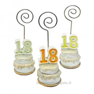 Memo clip portafoto Torta con numero 18 in resina 3.5x10 cm - Segnaposto compleanno 18 anni