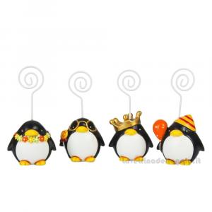 Memo clip portafoto Pinguino festa in resina 8 cm - Segnaposto compleanni
