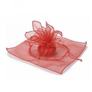 Tulle rosso in organza con tirante base quadrata e bordo orlato