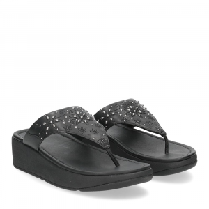 Fitflop Mya Floral stud toe thongs all black