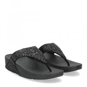 Fitflop Lulu glitter toe thongs black