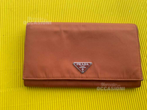 Wallet Brown Prada Original Fabric External And Leather (available Online)