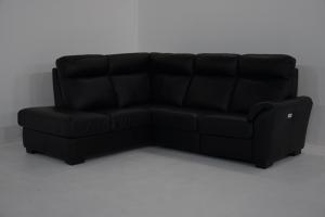 VERGIL - Divano angolare in pelle nera a 5 posti maggiorati con schienale alto e angolo terminale – Design contemporaneo