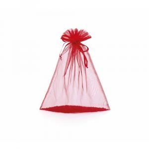 Sacchetto in organza rosso fragola cm 8 x 11 con tirante