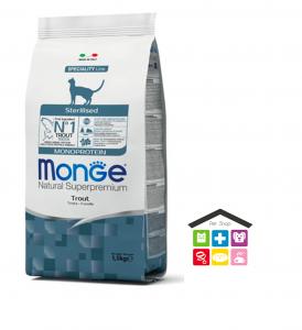 Monge cat Sterilised Monoprotein – Trota 0,400g /1,5kg/10kg