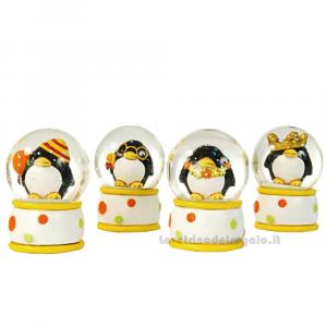 Palla di neve Pinguino festa in resina 6x8 cm - Bomboniera compleanni