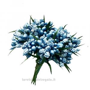12 pz - Mini Berry Shiny Blu Fiori artificiali 13 cm - Decorazioni bomboniere
