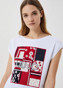 LIU JO WA1333J5003 T-shirt con stampa e applicazioni