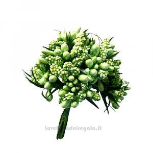 12 pz - Mini Berry Shiny Verde Fiori artificiali 13 cm - Decorazioni bomboniere
