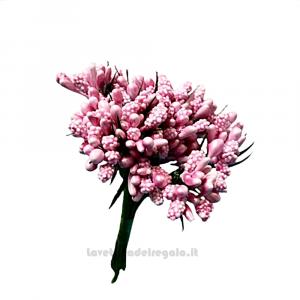 12 pz - Mini Berry Shiny Rosa Fiori artificiali 13 cm - Decorazioni bomboniere