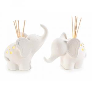 Elefante porcellana con luce led e stick in legno per profumare