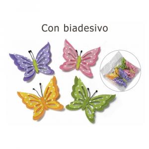 12 farfalle in panno colorato con biadesivo