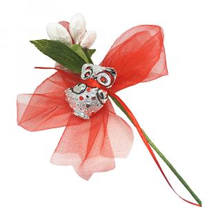 Fiore di confetto Margherita e Primula con Gufetto e fiocco in tulle - Bomboniera laurea