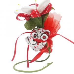 Fiore di confetti Gazania con gufo e velo con 5 confetti - Bomboniera laurea