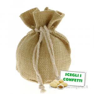 Portaconfetti palla Natural Bag 9 cm - Sacchetti bomboniere