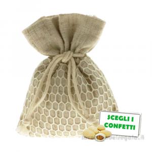 Portaconfetti con Rete in juta 8x10 cm - Sacchetti bomboniere