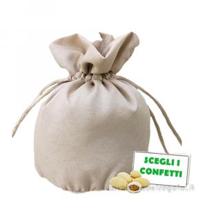 Piccolo Portaconfetti Ecru' in cotone 6x6 cm - Sacchetti bomboniere