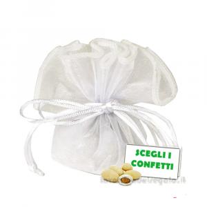 Velo portaconfetti Bianco 2 orli Lumen in organza 30 cm - Veli bomboniere