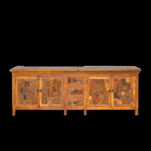 Credenza bassa in legno di teak con mosaico recupero dei vecchi timbrini