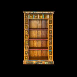 Libreria in legno di teak recuperato con bordo targhette in ottone con raffigurazione