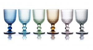 MOZART Set 6 calici vino in pasta di vetro colori assortiti