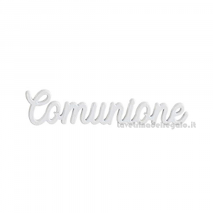 Decorazione Bianca scritta Comunione in legno 5.5 cm - Decorazioni comunione