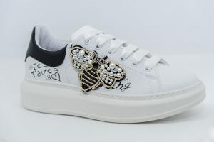 VITAMINA TU GAETA/ APE patch Sneakers in ecopelle con stampa laterale e patch
