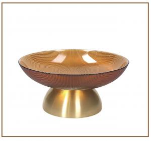 TOGNANA - Centrotavola In Vetro Ambra Oro 26cm, Honey